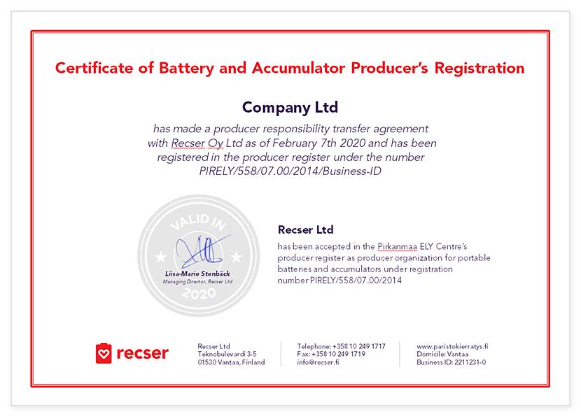 Recser Certificate