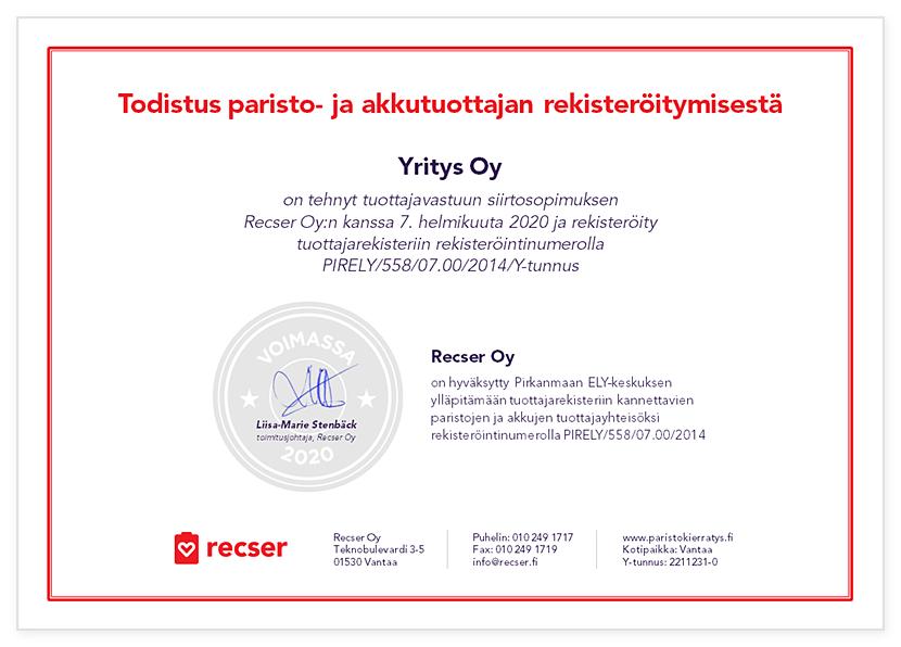 Recser-sertifikaatti