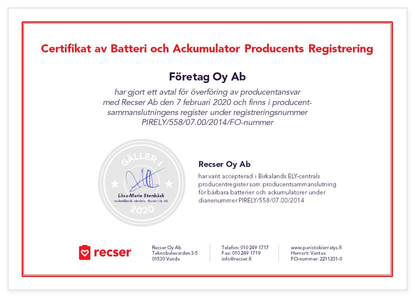 Recser Certifikat